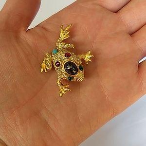 Bejeweled Goldtone Frog 🐸!